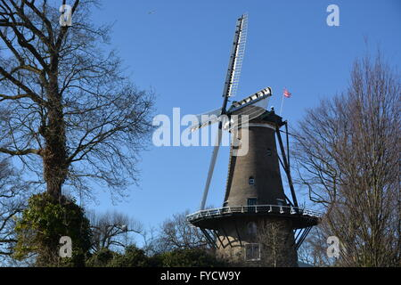 Alkmaar, Netherlands - March 27, 2016: Windmill with blue sky in Alkmaar - Stock Photo