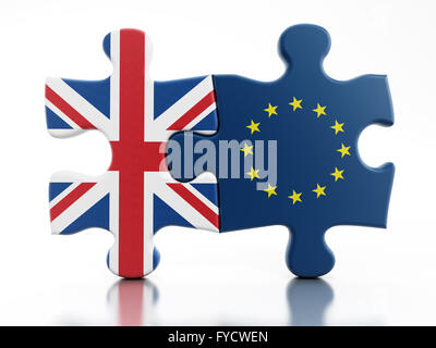 Britain and European Union flags on attached puzzle parts - Stock Photo