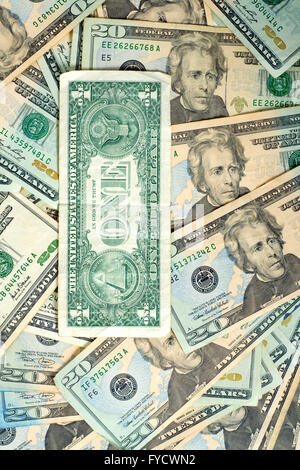 background of 20 dollars notes and 1 dollar note - Stock Photo