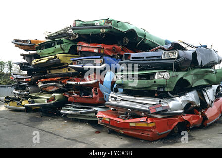 Stacked scrap cars - Stock Photo