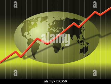 Globe and share prices - Stock Photo