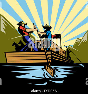 Cowboy man steering flatboat along river - Stock Photo
