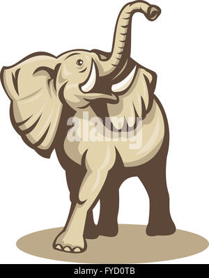 african bull elephant charging attacking - Stock Photo