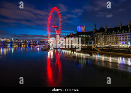 The London Eye, Southbank, seen from the Westminster Bridge, London, United Kingdom - Stock Photo