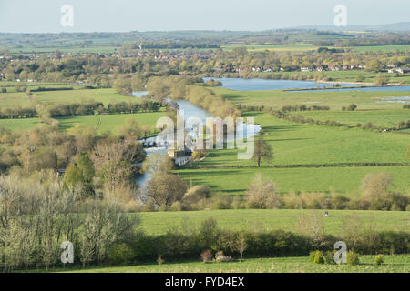 Looking over Day's Lock on the River Thames from Round Hill, Wittenham Clumps, near Dorchester on Thames, Oxfordshire, - Stock Photo