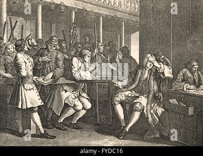 Industry & Idleness Plate 10 The Industrious 'Prentice Alderman of London, the Idle one brought before him & Impeach'd - Stock Photo