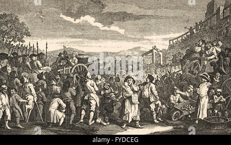 Industry & Idleness Plate 11 The Idle 'Prentice Executed at Tyburn by William Hogarth circa 1747 - Stock Photo