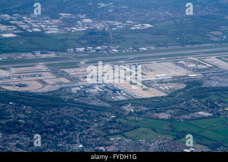 London UK. 25th April 2016.  Aerial photograph of Gatwick airport on an overcast day  as rain is forecast in London - Stock Photo