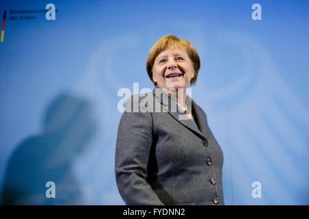 German Chancellor Angela Merkel arrives for a visit at Germany's public authorities Joint Terrorism Defense Center - Stock Photo