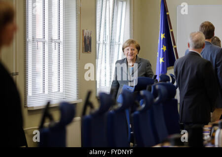 Berlin, Germany. 26th April, 2016. German Chancellor Angela Merkel arrives for a visit at Germany's public authorities - Stock Photo