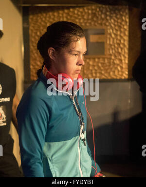 Los Angeles, California, USA. 25th Apr, 2016. Monday, April 25th, 2016, Paola Ramirez before a fight at the Exchange - Stock Photo