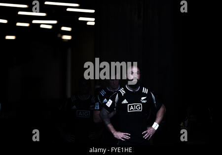New Zealands DJ Forbes leads his team out during the 2016 HSBC / Cathay Pacific Hong Kong Sevens, Hong Kong Stadium. - Stock Photo