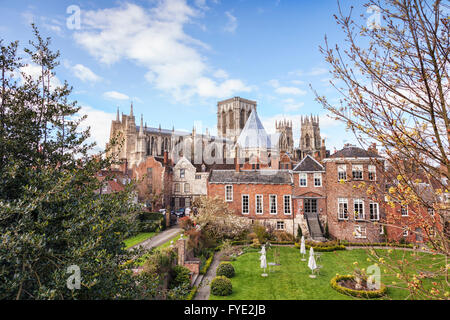 York Minster from the city walls, York, North Yorkshire, England, UK - Stock Photo