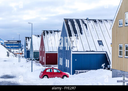 Winter street in  Arctic capital Nuuk city, Greenland - Stock Photo