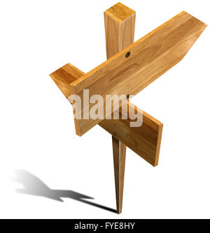 Wooden Sign with two arrows - Stock Photo