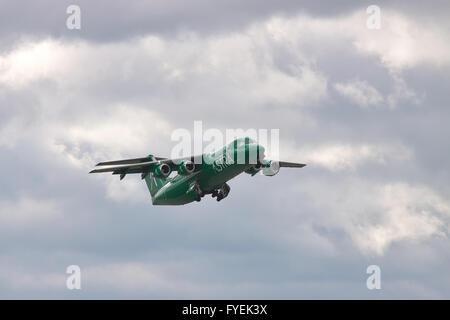 Borispol, Ukraine - October 2, 2010: Astra Airlines Greece BAe 146 Avro RJ passenger plane is taking off into the - Stock Photo