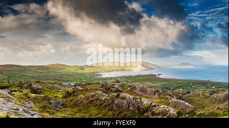 View from the Beara Way above the village of Allihies with spectacular cloud formations, Beara, County Cork, Ireland - Stock Photo