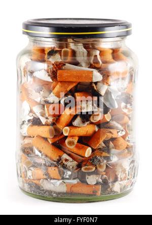 jar of cigarettes isolated on white - Stock Photo