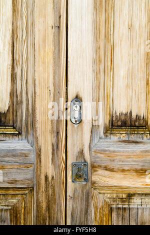 Closeup wood door with textured material - Stock Photo