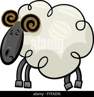 Cartoon illustration of ram or sheep - Stock Photo