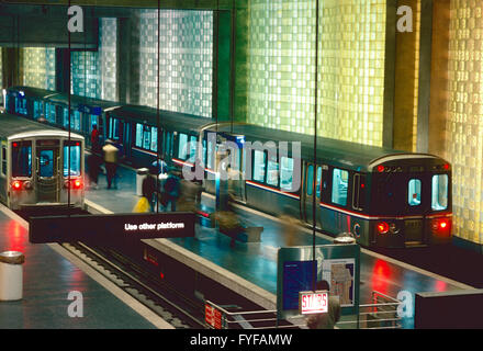 Subway station, train car & block glass walls at Chicago's O'Hare International Airport - Stock Photo