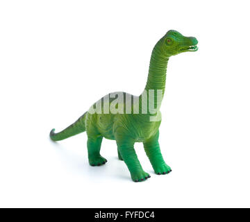 green brachiosaurus toy on a white background - Stock Photo