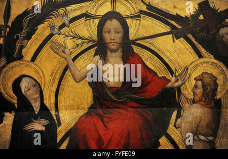Anonymous. Germany. 15th century. Christ on the Day of Judgement with the Virgin and St John the Baptist as Intercessors. - Stock Photo