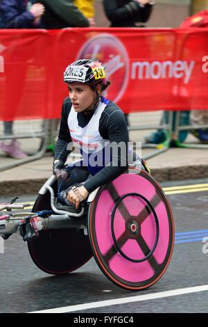 Jade Jones, Wheelchair competitor, 2016 Virgin Money London Marathon, London,  United Kingdom - Stock Photo