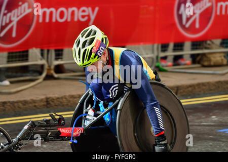 Wheelchair competitor, 2016 Virgin Money London Marathon, London,  United Kingdom - Stock Photo