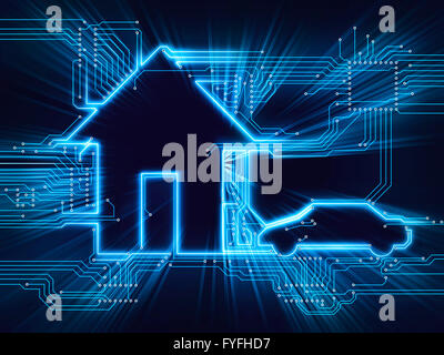 Connected house and electric car, future home, illustration - Stock Photo