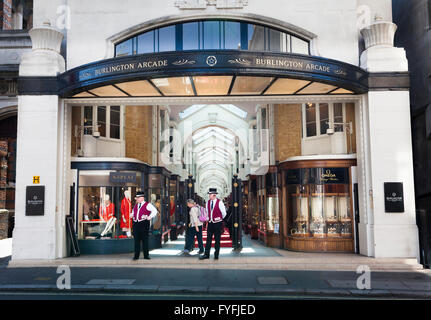 Burlington Arcade entrance from Burlington Gardens, London, Greater London, England, United Kingdom - Stock Photo
