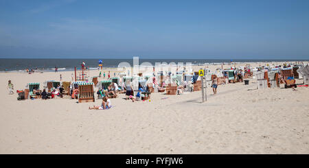 Beach chairs on the sand beach, Baltrum, East Frisian Islands, East Frisia, Lower Saxony, Germany - Stock Photo