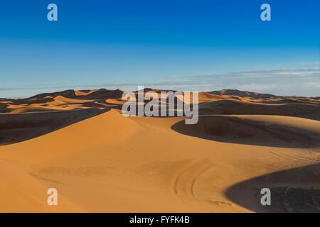 Dunes of Erg Chebbi, desert landscape, Merzouga, Meknès-Tafilalet region, Morocco - Stock Photo