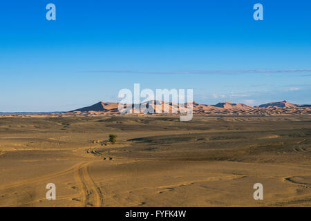 Dunes of Erg Chebbi, Merzouga, Meknès-Tafilalet region, Morocco - Stock Photo