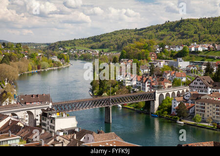 View from Munot Fortress over the town, Schaffhausen, High Rhine, Canton of Schaffhausen, Switzerland - Stock Photo