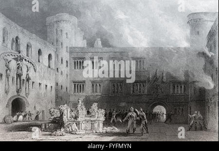 Linlithgow Palace, burning in 1746, Linlithgow, West Lothian, Scotland, - Stock Photo