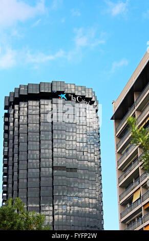 BARCELONA, SPAIN - OCTOBER 08: The skyscrapers of La Caixa Headquarters complex on Avinguda Diagonal, Barcelona, Spain