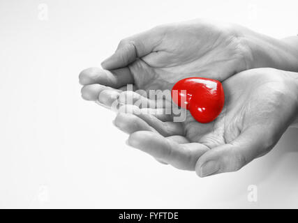 Heart in hands conceptual image. Love - Stock Photo