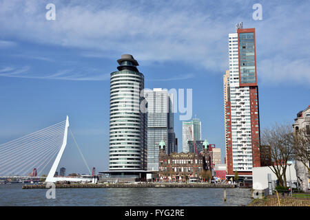 World Port Center ( Kop van Zuid ) Montevideo hotel New York Rotterdam Netherlands Dutch ( New Maas River Erasmus - Stock Photo