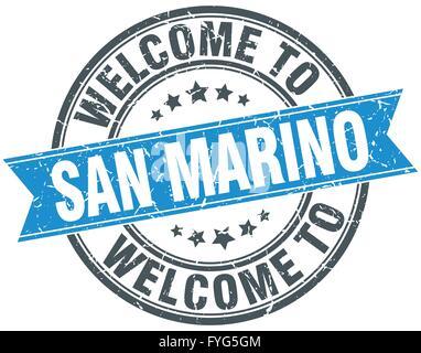 San Marino blue round grunge vintage ribbon stamp Stock Photo ...