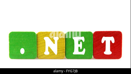 net - isolated text in wooden building blocks - Stock Photo