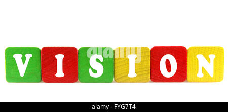 vision - isolated text in wooden building blocks - Stock Photo