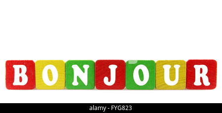 bonjour - isolated text in wooden building blocks - Stock Photo