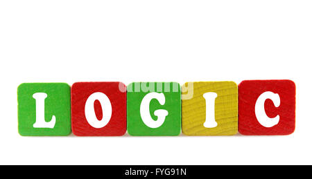 logic - isolated text in wooden building blocks - Stock Photo