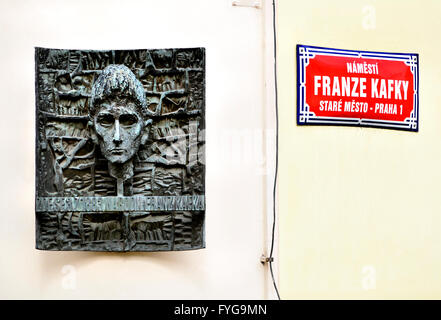 Prague, Czech Republic. Plaque with bust of Franz Kafka (Czech author: 1883-1924) in Franz Kafka Square (Namesti - Stock Photo