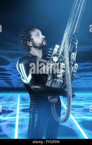 Future soldier with big gun, fantasy image - Stock Photo
