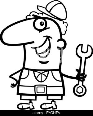 worker cartoon coloring page stock photo