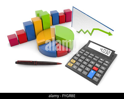 render of graphics and calculator isolated on white background - Stock Photo