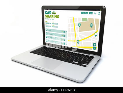render of a 3d generated computer with car sharing online web  on the screen. Screen graphics are made up. - Stock Photo