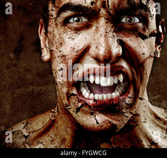 Face of Scary Man with Textured Peeling Skin - Stock Photo